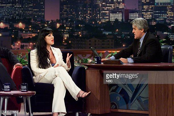 Former professional wrestler Chyna during an interview with host Jay Leno on June 16 2000