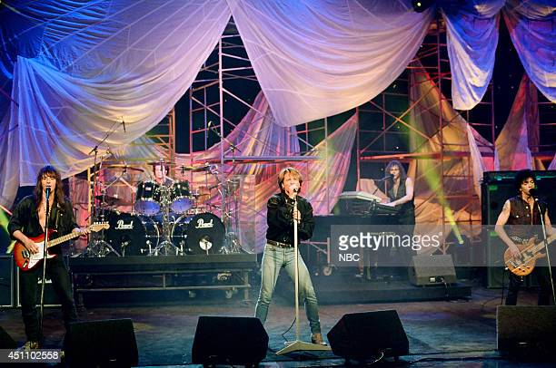 Richie Sambora Tico Torres Jon Bon Jovi David Bryan and Alec John Such of musical guest Bon Jovi perform on March 17 1993