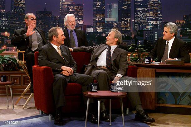 Actors James Garner Donald Sutherland Tommy Lee Jones Clint Eastwood during an interview with host Jay Leno on August 1 2000