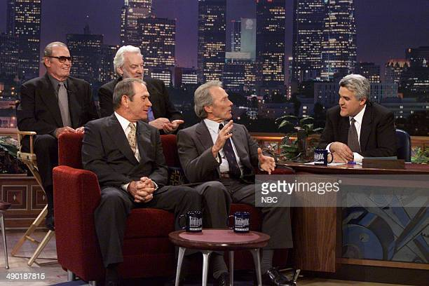 Actors James Garner Donald Sutherland Tommy Lee Jones and Clint Eastwood during an interiew with host Jay Lenoon August 1 2000