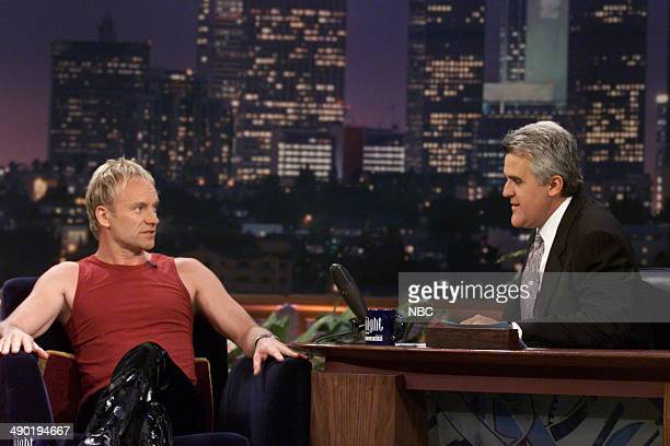 Musical guest Sting during an interview with host Jay Leno on August 10 2000