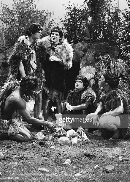 Bill Murray as okna Steve Martin as Caveman during the 'The Hominids' sketch on May 19 1980
