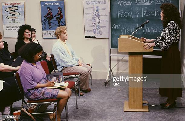 Delta Burke as Amanda Al Franken as Stuart SmalleyJulia Sweeney as Val during Weight Watchers Meeting skit on July 11 1991 Photo by Raymond...