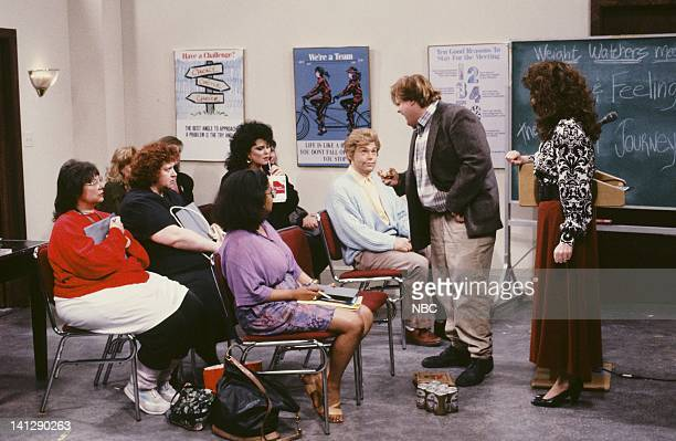 Delta Burke as Amanda Al Franken as Stuart Smalley Chris Farley as Ned Crowley Julia Sweeney as Val during Weight Watchers Meeting skit on July 11...