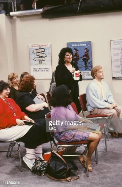 Delta Burke as Amanda Al Franken as Stuart Smalley during Weight Watchers Meeting skit on July 11 1991 Photo by Raymond Bonar/NBC/NBCU Photo Bank
