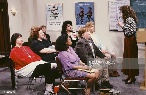 Delta Burke as Amanda Chris Farley as Ned Crowley Al Franken as Stuart Smalley Julia Sweeney as Val during Weight Watchers Meeting skit on July 11...