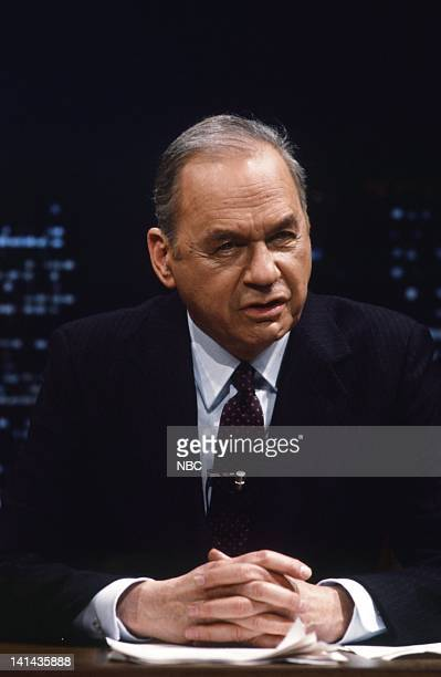 Episode 19 -- Pictured: Edwin Newman during the 'Saturday Night News' skit on May 12, 1984 -- Photo by: NBC/NBCU Photo Bank