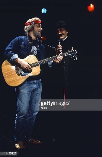 Episode 19 -- Pictured: Jim Belushi as Willie Nelson, Father Guido Sarducci during the 'Sarducci & Nelson' skit on May 12, 1984 -- Photo by: NBC/NBCU...