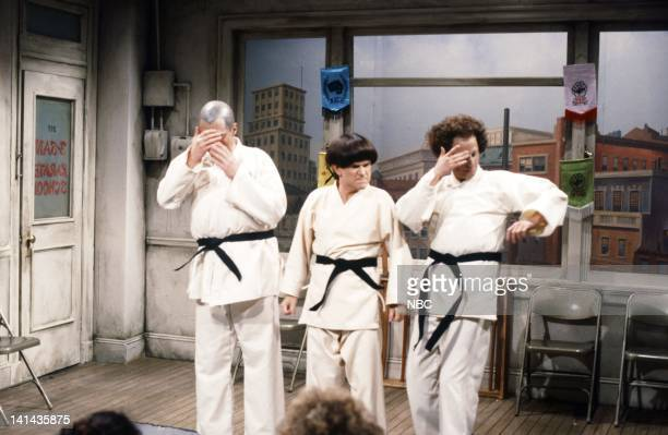 Joe Piscopo as Curly Tim Kazurinsky as Moe Gary Kroeger as Larry during the 'Karate School' skit on May 12 1984 Photo by NBC/NBCU Photo Bank
