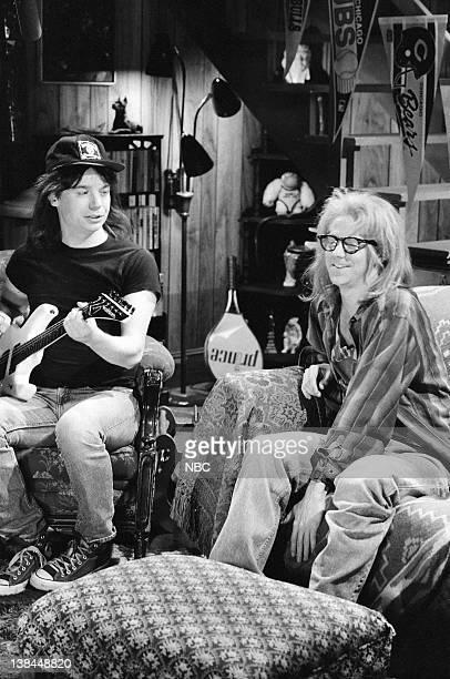Mike Myers as Wayne Campbell Dana Carvey as Garth Algar during the 'Wayne's World' skit on May 13 1989