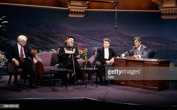 Talk show host Phil Donahue musical guest Dr John director David Lynch during an interview with host Jay Leno on June 18 1992