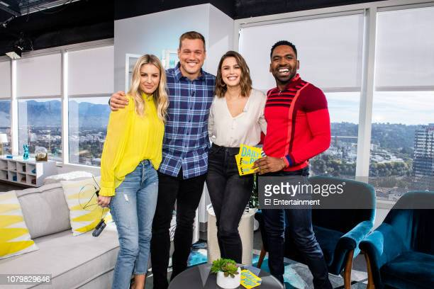 Daily Pop Host Morgan Stewart poses with Colton Underwood of The Bachelor and CoHosts Carissa Culiner and Justin Sylvester on set