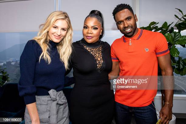 Daily Pop Host Morgan Stewart poses for a photo with actress Mo'Nique and CoHost Justin Sylvester