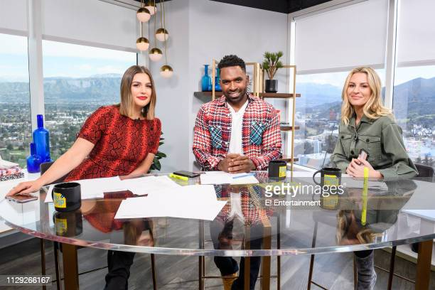 Daily Pop CoHosts Carissa Culiner Justin Sylvester and Morgan Stewart pose for a photo on set