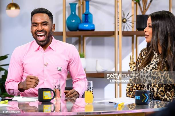Episode 190308 -- Pictured: Daily Pop Co-Host Justin Sylvester reacts with Guest Co-Host Kamie Crawford --