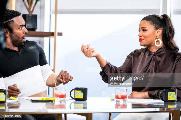 Episode 190322 -- Pictured: Daily Pop Co-Host Justin Sylvester reacts to Guest Co-Host Kamie Crawford on set --