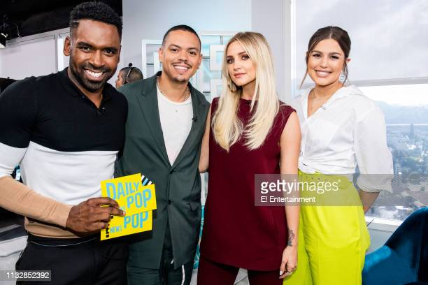 Musical Artists Evan Ross and Ashlee Simpson pose for a photo with Daily Pop CoHosts Carissa Culiner and Justin Sylvester on set