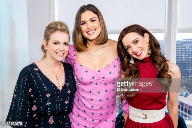 Melissa Joan Hart poses for a photo on set with Daily Pop CoHost Carissa Culiner and Guest CoHost Melanie Bromley