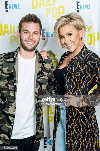 Savannah and Chase Chrisley pose for a photo in studio