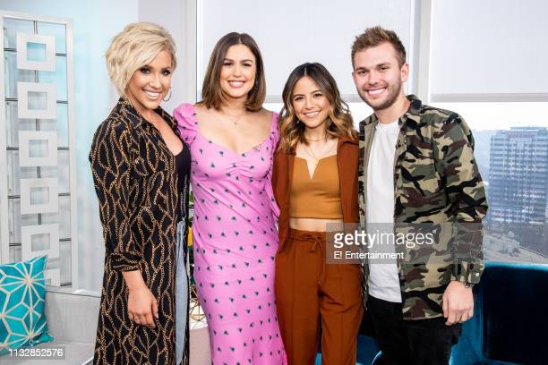 Savannah Chrisley poses for a photo on set with Daily Pop CoHost Carissa Culiner Daily Pop Guest CoHost Erin Lim and her brother Chase Chrisley