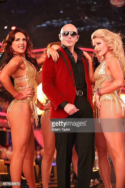 """Episode 1906"""" - International superstar Pitbull returned to the ballroom and for the first time joined Julianne Hough, Carrie Ann Inaba and Bruno..."""