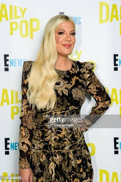 Episode 190813 -- Pictured: ?BH90210? star Tori Spelling poses for a photo on set --