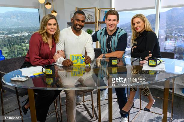 Daily Pop CoHosts Carissa Culiner Justin Sylvester and Morgan Stewart far right talk with Adam Devine center about his new movie Jexi