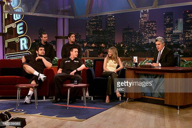 Members of musical guest Papa Roach actress Sarah Michelle Gellar during an interview with host Jay Leno on October 16 2000