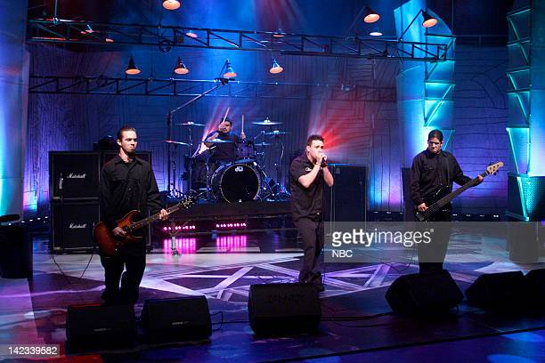 Musical guest Papa Roach performs on October 16 2000