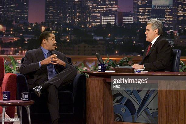TV/radio personality Larry Elder during an interview with host Jay Leno on October 18 2000