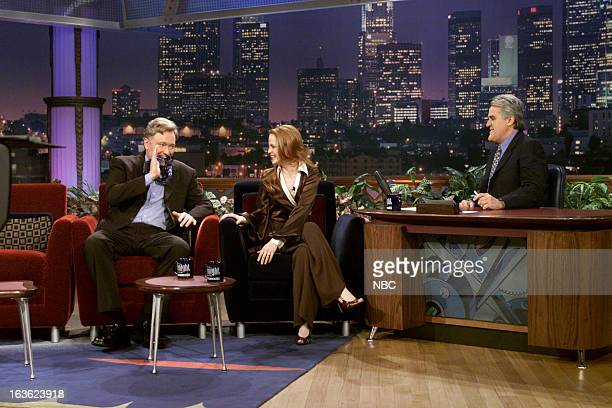 Episode 1984 -- Pictured: Talk show host Conan O'Brien, Actress Mena Suvari during an interview with host Jay Leno on January 23, 2001 --
