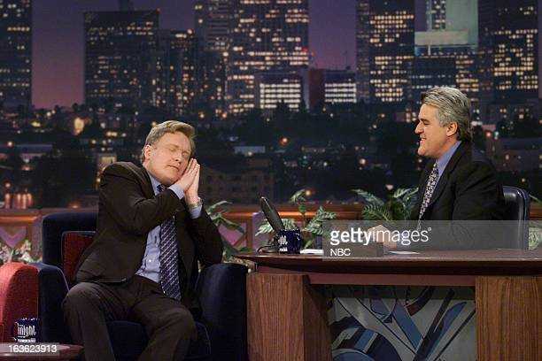 Episode 1984 -- Pictured: Talk show host Conan O'Brien during an interview with host Jay Leno on January 23, 2001 --