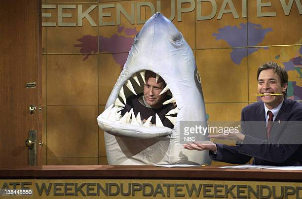 LIVE Episode 2 Air Date Pictured Chevy Chase as Land Shark Jimmy Fallon during 'Weekend Update' on October 6 2001