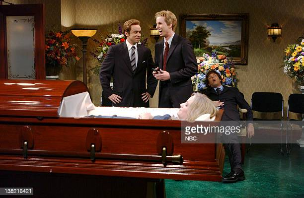 LIVE Episode 2 Aired Pictured Fred Armisen as funeral director Jon Heder as Four Eyes Jason Sudeikis as friend Amy Poehler as Debbie Lassem during...