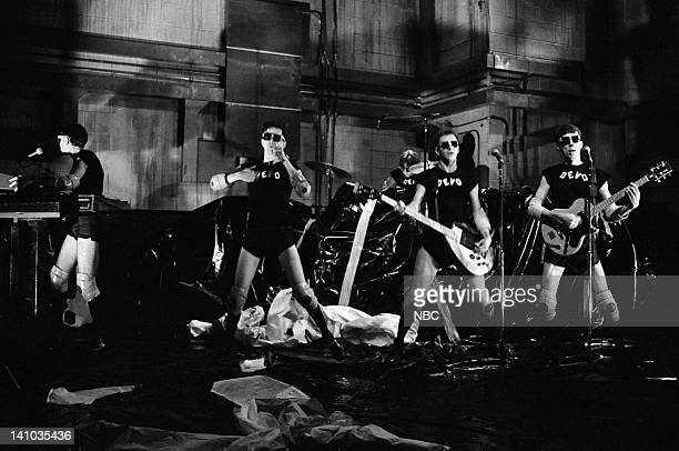 Devo during the musical performance of 'Satisfaction' skit on October 14 1978 Photo by NBC/NBCU Photo Bank