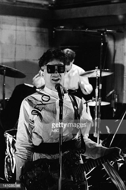 Gerald V Casale of musical guest Devo during the musical performance of 'Jocko Homo' on October 14 1978 Photo by NBC/NBCU Photo Bank
