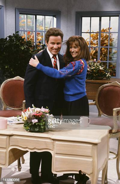 """Episode 2 -- Pictured: Phil Hartman as Frank Gifford, Jan Hooks as Kathie Lee Gifford during """"Live with Regis & Kathie Lee"""" skit on October 6, 1990..."""
