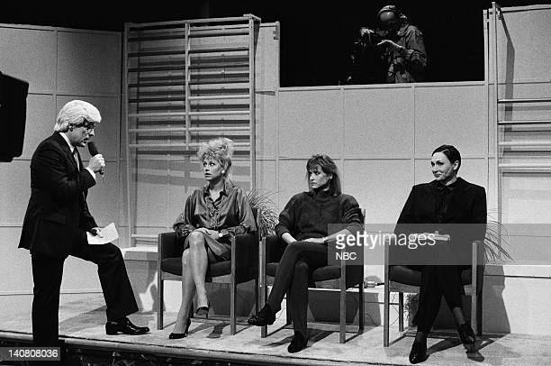 Phil Hartman as Phil Donahue Jan Hooks as Phyllis Sykes Victoria Jackson as Elaine Poldask Nora Dunn as Dr Norma Hoeffering during 'Donahue' skit on...