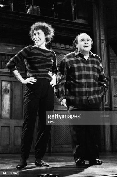 Episode 2 -- Pictured: Rhea Perlman and Danny DeVito during the monologue on October 15, 1983 --