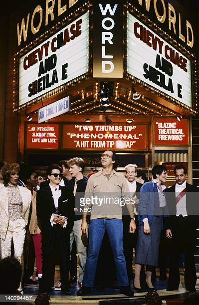 Sheila E Anthony Michael Hall Chevy Chase Terry Sweeney Nora Dunn Jon Lovitz on November 16 1985 Photo by Alan Singer/NBCU Photo Bank