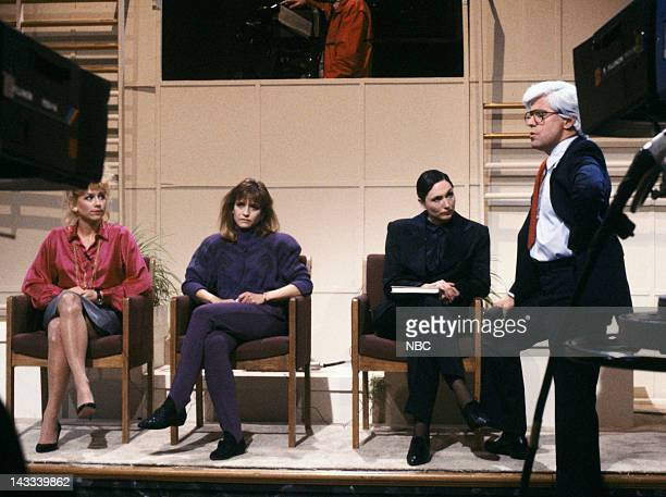 Victoria Jackson as Elaine Poldask Jan Hooks as Phyllis Sykes Nora Dunn as Dr Norma Hoeffering Phil Hartman as Phil Donahue during 'Donahue' skit on...
