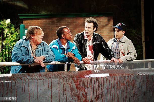 LIVE Episode 20 Air Date Pictured Chris Farley Tim Meadows Norm MacDonald Adam Sandler during 'Polar Bear Cage' skit on May 13 1995
