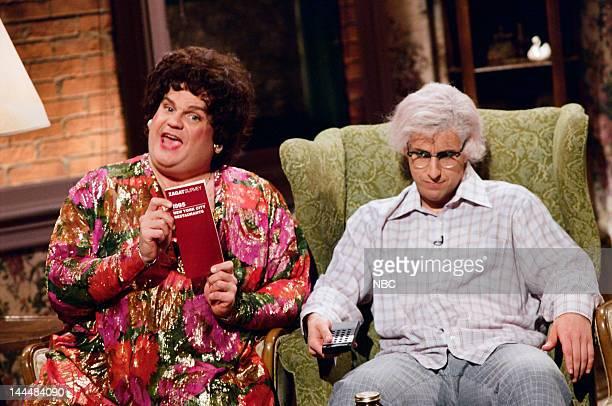 Chris Farley as Beverly Gelfand Adam Sandler as Hank Gelfand during 'Zagat's' skit on May 13 1995