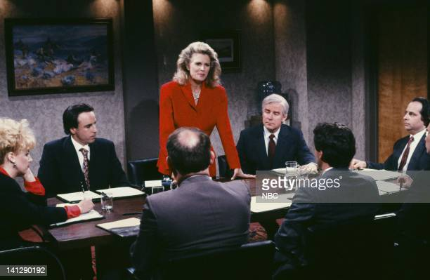 Kevin Nealon as Jerry Candice Bergen as Ms Powell Phil Hartman as Tom Jon Lovitz as Paul during the 'She Does It All' skit on May 19 1990 Photo by...