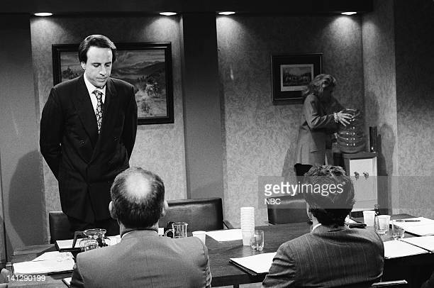 Kevin Nealon as Jerry Candice Bergen as Ms Powell during the 'She Does It All' skit on May 19 1990 Photo by Raymond Bonar/NBCU Photo Bank
