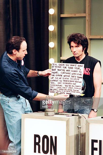Kevin Nealon as Pete Toman David Duchovny as Ron Powell during 'You Think You're Better Than Me' skit on May 13 1995