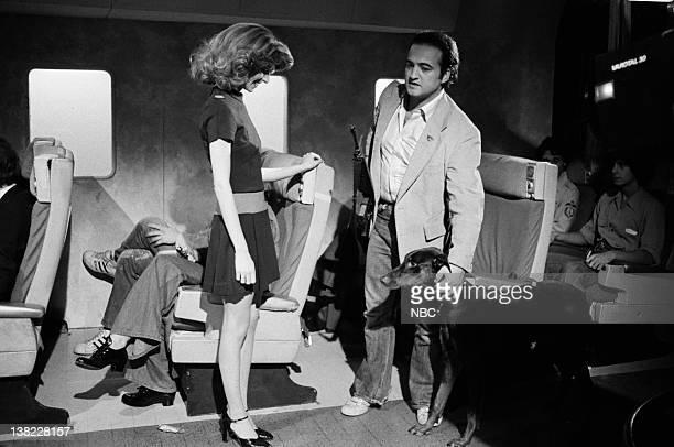 Laraine Newman as Sherry John Belushi as passenger during the 'Trans Eastern Airlines' skit on April 23 1977