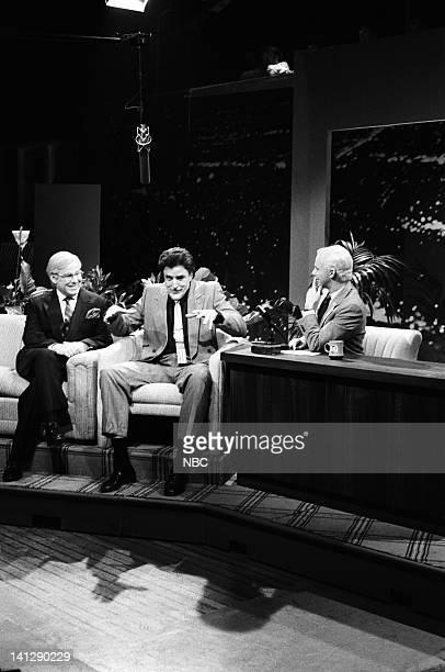 Phil Hartman as Ed McMahon Kevin Nealon as Jay Leno Dana Carvey as Johnny Carson during 'The Tonight Show' skit on May 19 1990 Photo by Raymond...