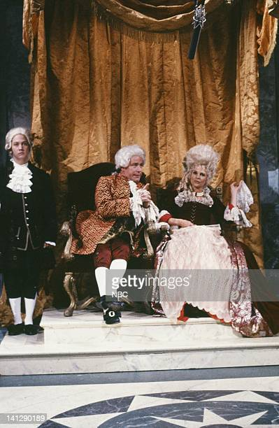 Rob Schneider as servant Phil Hartman as King Candice Bergen as Queen during the 'Once Upon A Time' skit on May 19 1990 Photo by Raymond Bonar/NBCU...
