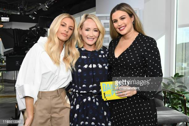 Daily Pop CoHost Morgan Stewart poses for a photo on set with Style Expert Ashley Fultz and CoHost Carissa Culiner